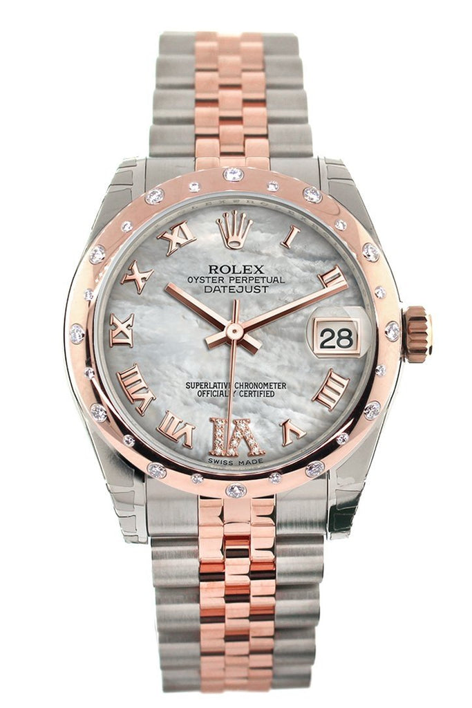 Rolex Datejust 31 White Mother of Pearl Roman Large VI set with Diamond Dial Diamond Bezel 18K Rose Gold Two Tone Jubilee Ladies Watch 178341