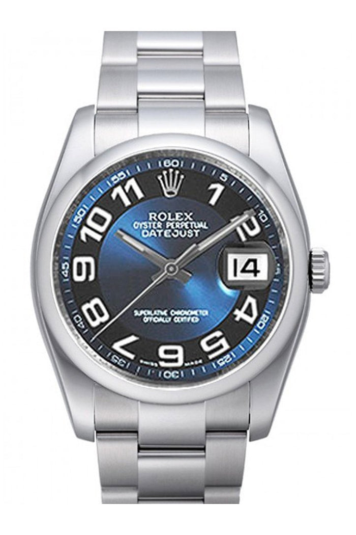 ROLEX 116200 Datejust 36 Blue Ring Dial Oyster Watch| WatchGuyNYC