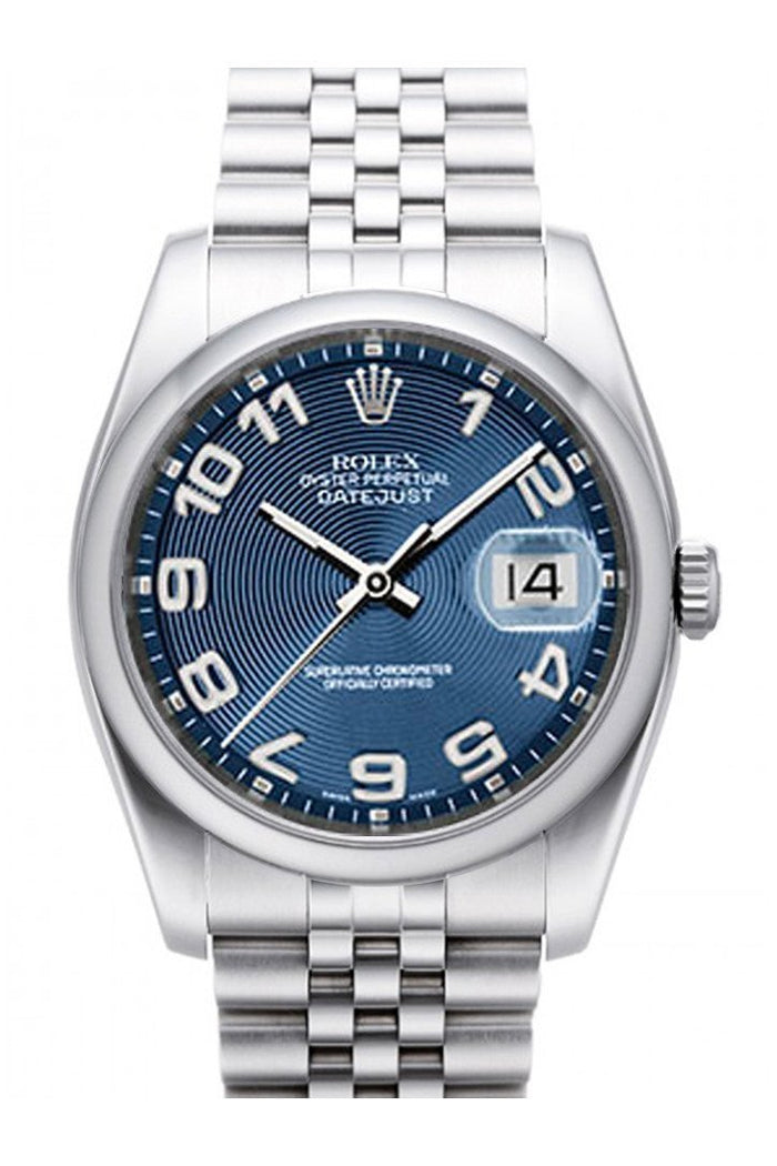 ROLEX 116200 Datejust 36 Blue Concentric Dial Jubilee Watch| WatchGuyNYC