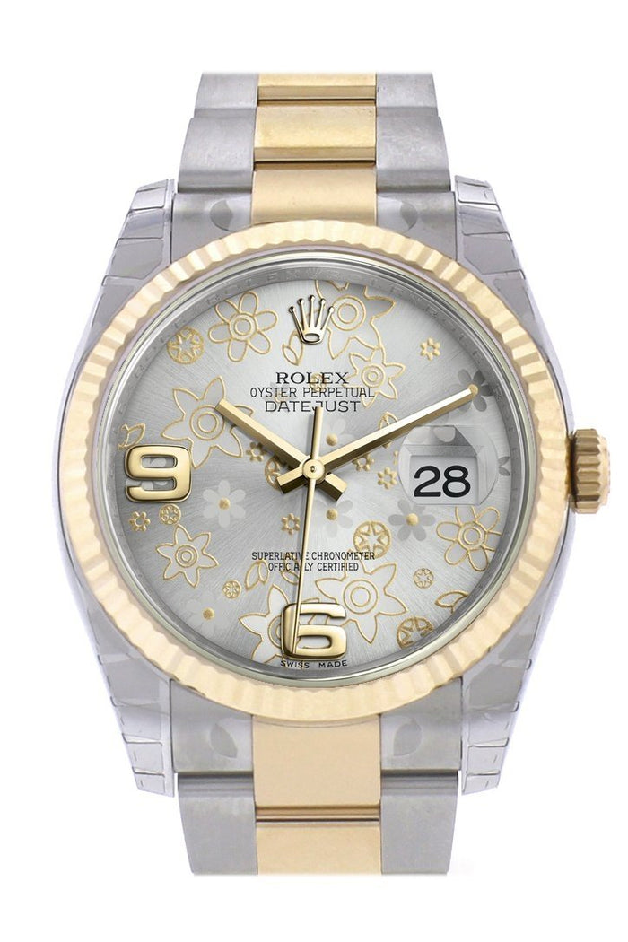 Rolex Datejust 36 Silver floral motif Dial Fluted 18K Gold Two Tone Oyster Watch 116233