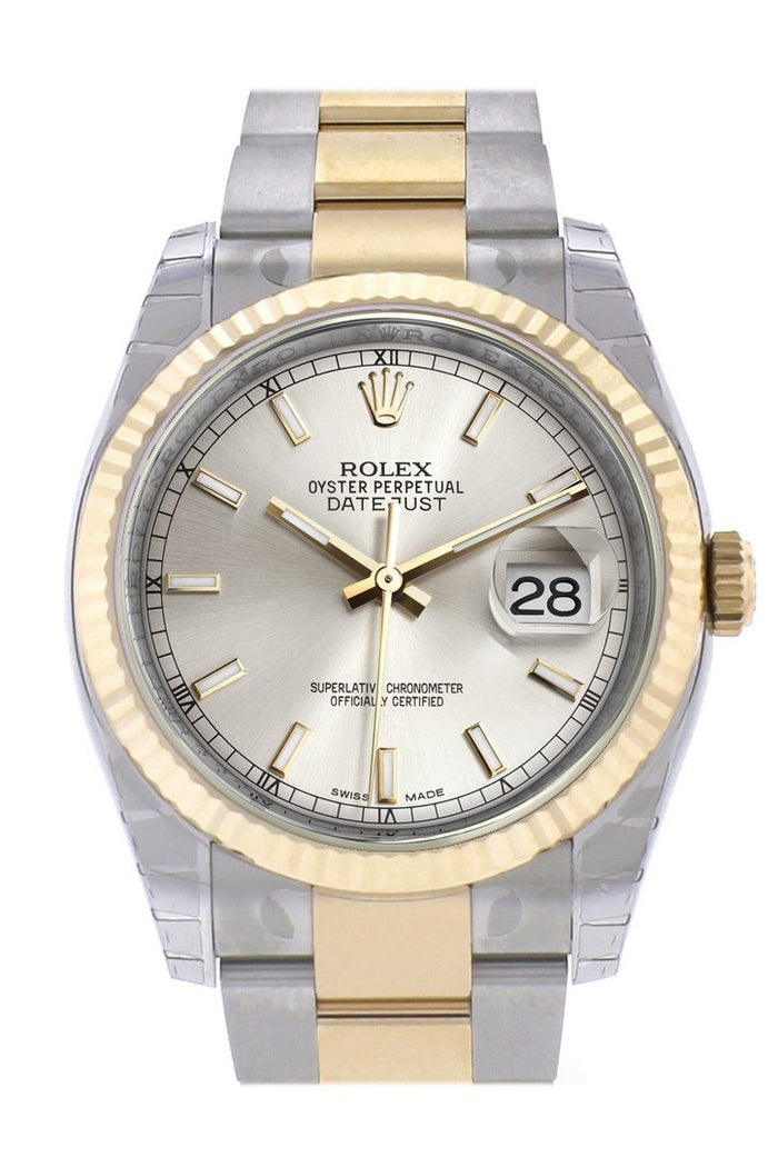 Rolex Datejust 36 Silver Dial Fluted 18K Gold Two Tone Oyster Watch 116233