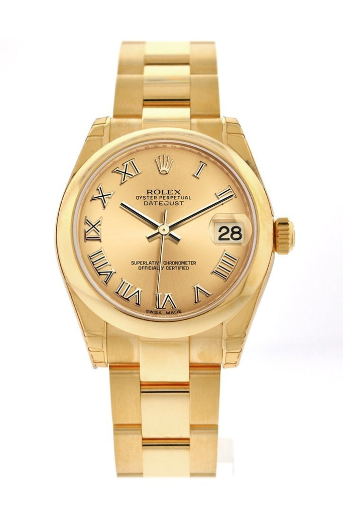 Rolex Datejust 31 Champagne Roman Dial 18K Yellow Gold Ladies Watch 178248