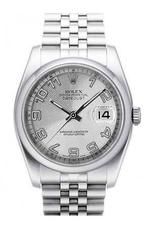 Rolex Datejust 36 Silver Concentric Dial Stainless Steel Jubilee Mens Watch 116200 / None