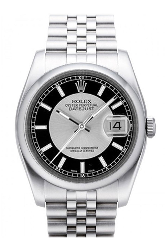 Rolex Datejust 36 Silver Black Dial Stainless Steel Jubilee Mens Watch 116200 / None