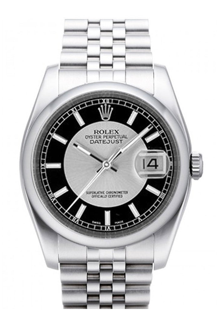 Rolex Datejust 36 Silver Black Dial Stainless Steel Jubilee Men's Watch 116200