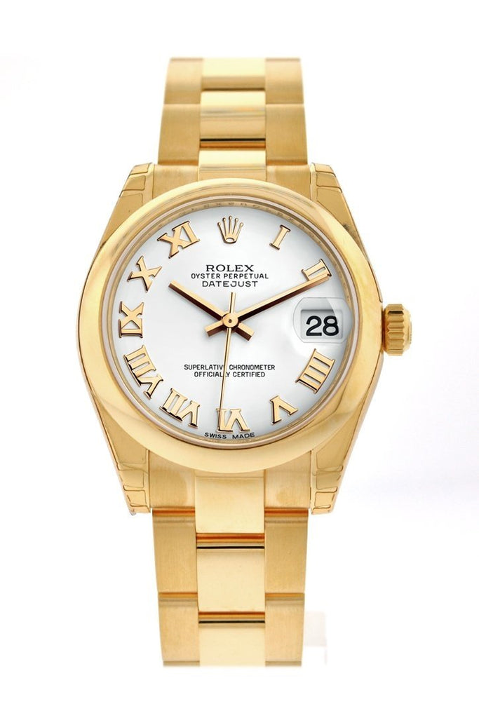 Rolex Datejust 31 White Roman Dial 18K Gold Ladies Watch 178248
