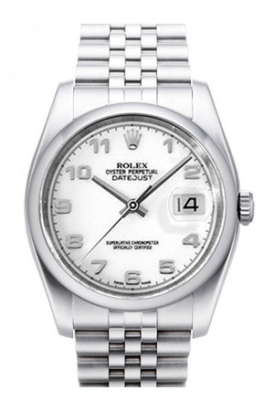 Rolex Datejust 36 White Dial Stainless Steel Jubilee Mens Watch 116200 / None