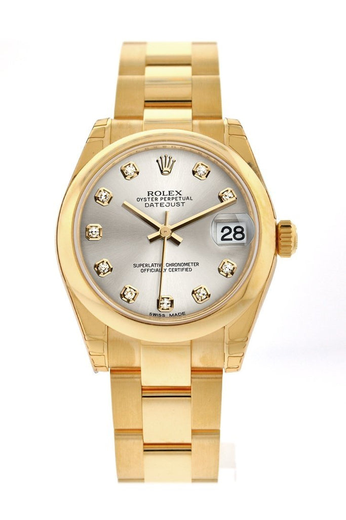 Rolex Datejust 31 Silver Diamond Dial 18K Yellow Gold Ladies Watch 178248