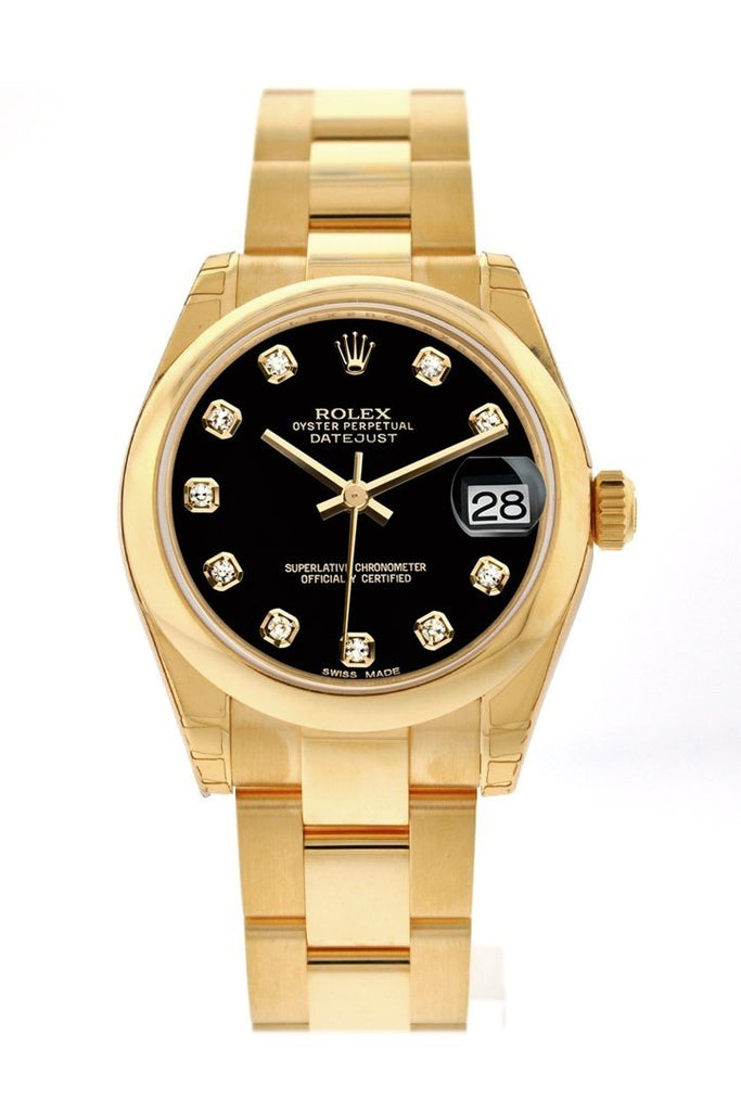 Rolex Datejust 31 Black Diamond Dial 18K Yellow Gold Ladies Watch 178248