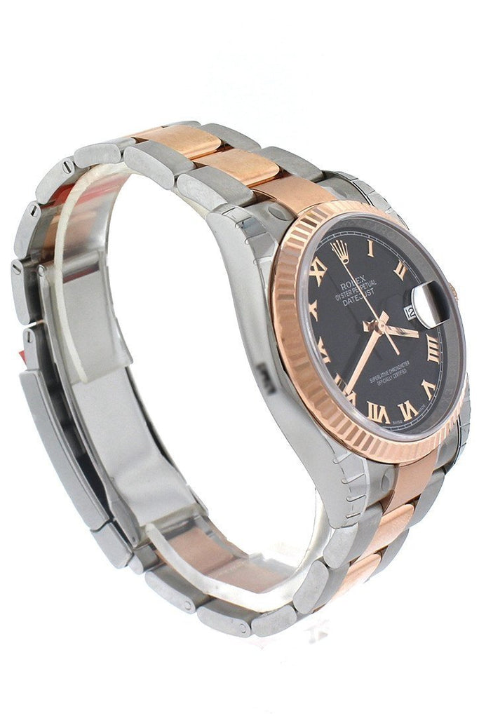 Rolex Datejust 36 Black Roman Dial Steel and 18k Rose Gold Mens Ladies Watch 116231