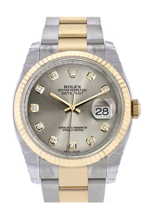 Rolex Datejust 36 Steel Diamond Dial Fluted 18K Gold Two Tone Oyster Watch 116233