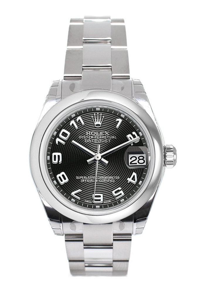 Rolex Datejust 31 Black Concentric Dial Steel Ladies Watch 178240
