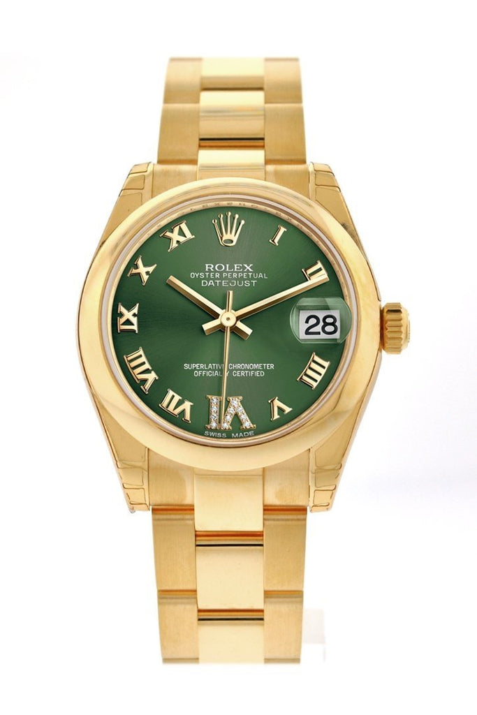 Rolex Datejust 31 Olive Green VI Diamonds Dial 18K Yellow Gold Ladies Watch 178248