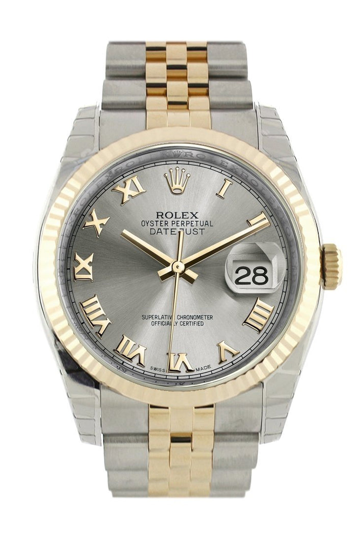 ROLEX Datejust 36 Grey Steel Dial Fluted Jubilee Watch 116233