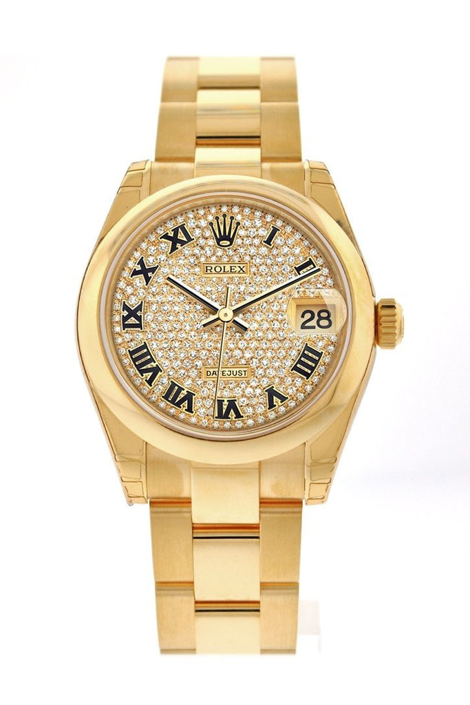 Rolex Datejust 31 Diamond Paved Dial 18K Yellow Gold Ladies Watch 178248