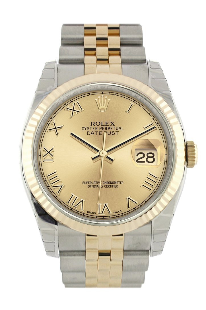 Rolex Datejust 36 Champagne Roman Dial Fluted 18K Gold Two Tone Jubilee Watch 116233 / None