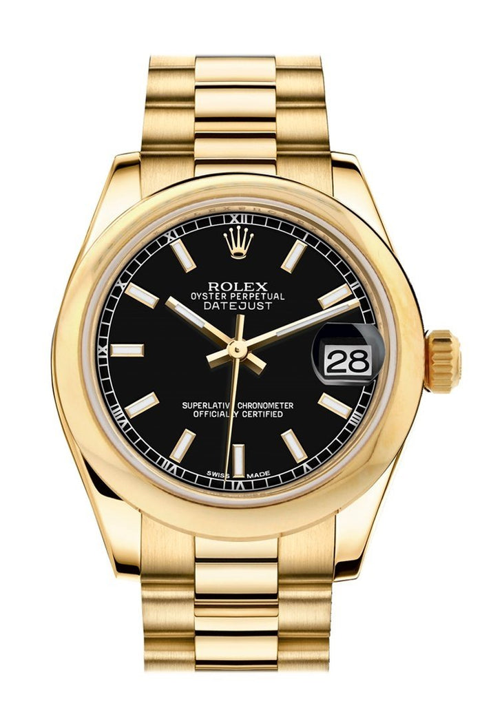 Rolex Datejust 31 Black Dial 18K Yellow Gold President Ladies Watch 178248