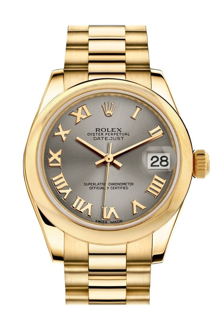 Rolex Datejust 31 Steel Roman Dial 18K Yellow Gold President Ladies Watch 178248