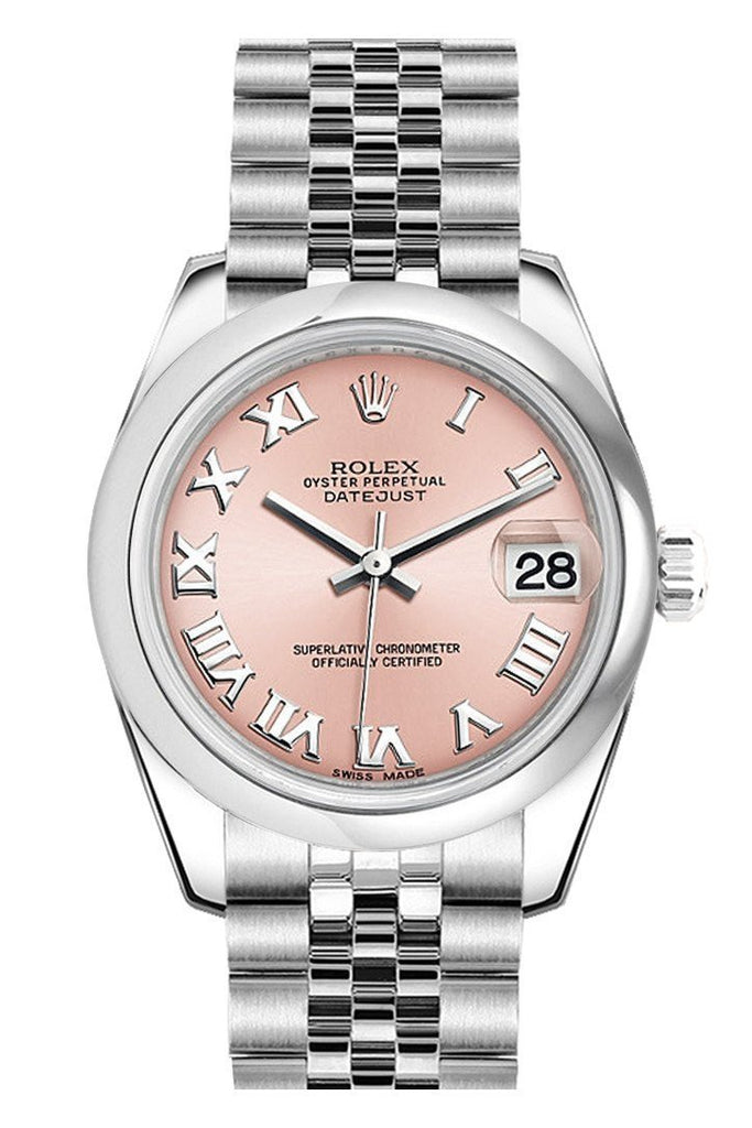 Rolex Datejust 31 Pink Roman Dial Stainless Steel Jubilee Ladies Watch 178240