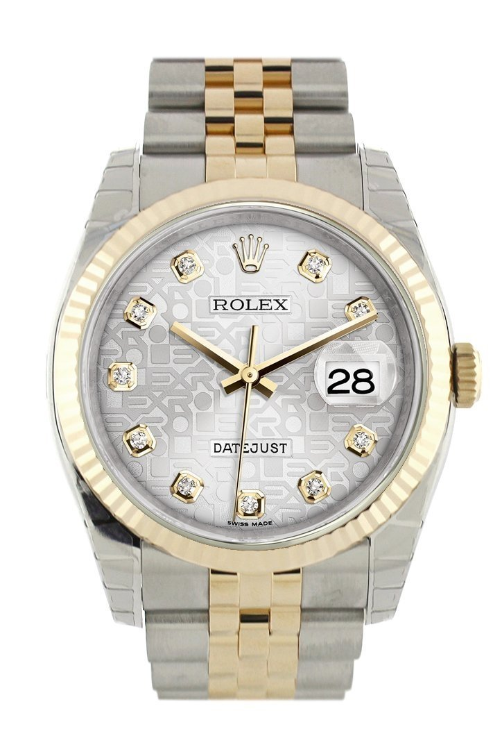 Rolex Datejust 36 Silver Jubilee Diamond Dial Fluted 18K Gold Two Tone Watch 116233