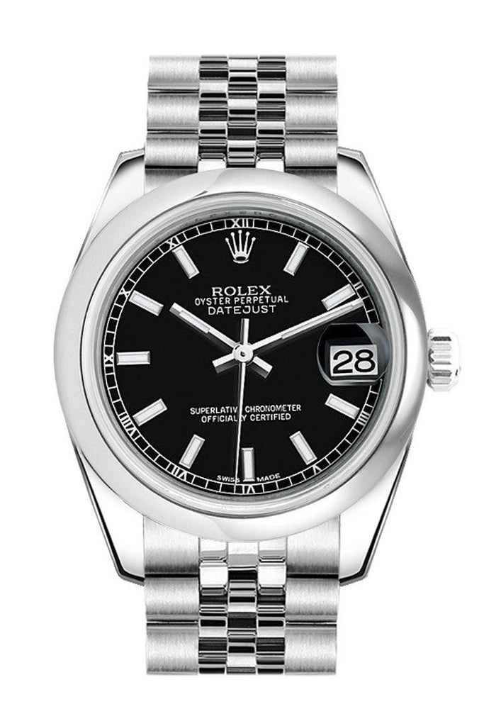 Rolex Datejust 31 Black Dial Stainless Steel Jubilee Ladies Watch 178240 / None