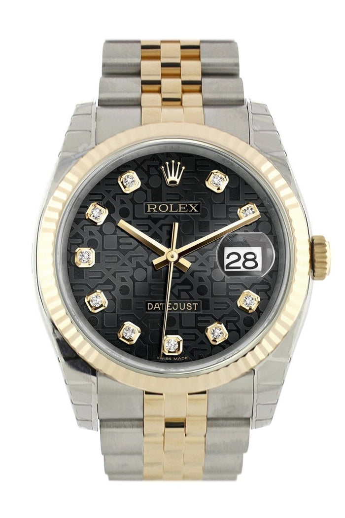 Rolex Datejust 36 Black Jubilee Diamond Dial Fluted 18K Gold Two Tone Jubilee Watch 116233