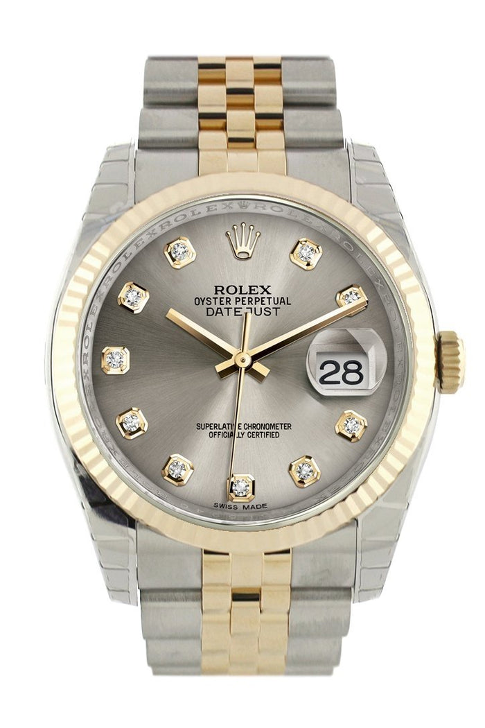 Rolex Datejust 36 Steel Diamond Dial Fluted 18K Gold Two Tone Jubilee Watch 116233