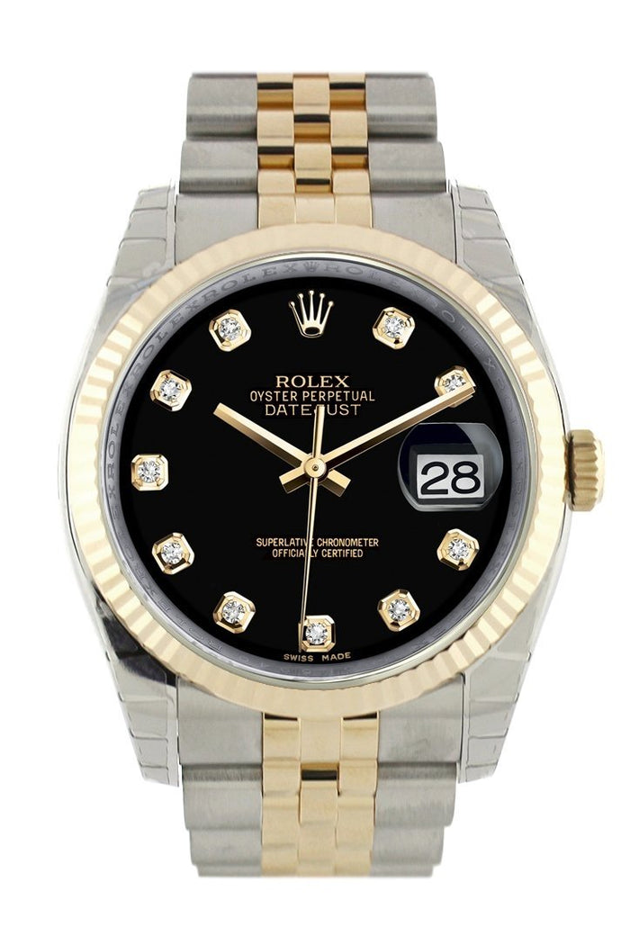 Rolex Datejust 36 Black Diamond Dial Fluted 18K Gold Two Tone Jubilee Watch 116233