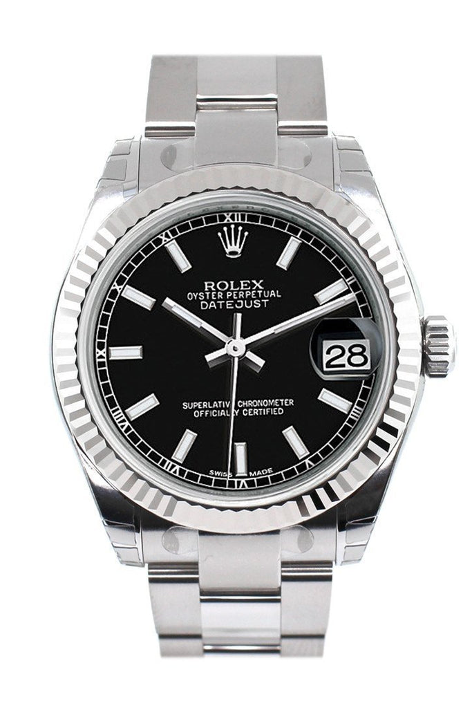 Rolex Datejust 31 Black Dial White Gold Fluted Bezel Ladies Watch 178274 / None
