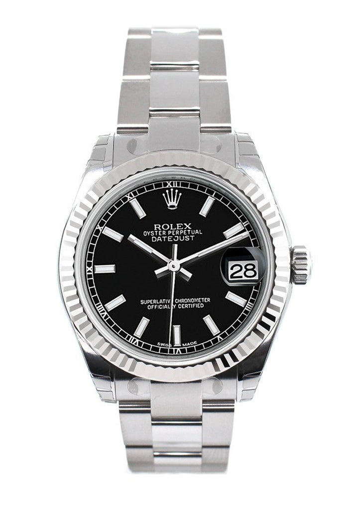 Rolex Datejust 31 Black Dial White Gold Fluted Bezel Ladies Watch 178274