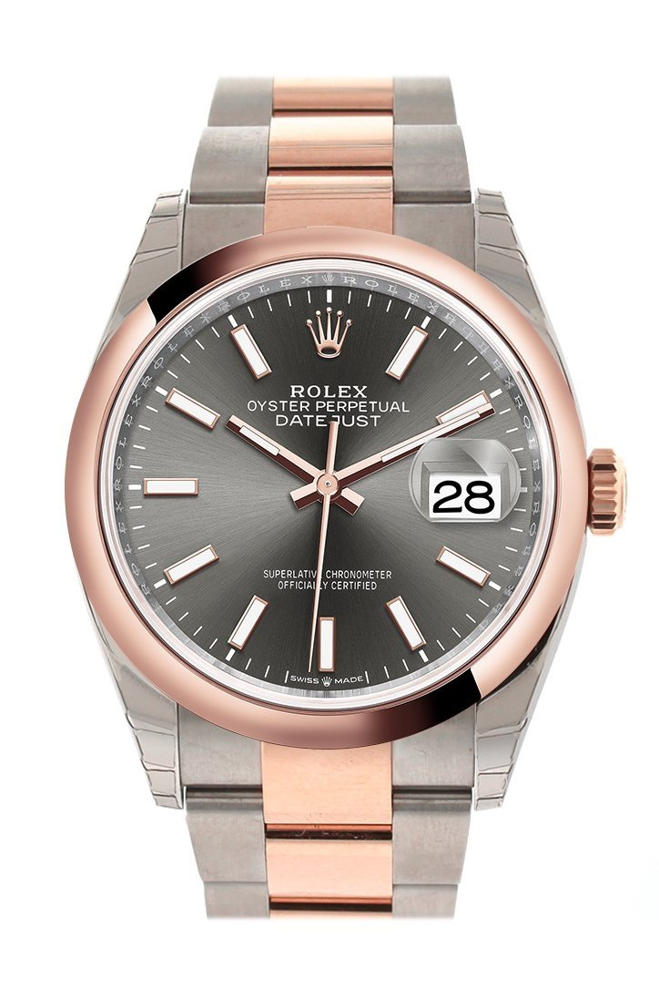 Rolex Datejust 36 Dark Rhodium Dial Dome Rose Gold Two Tone Watch 126201