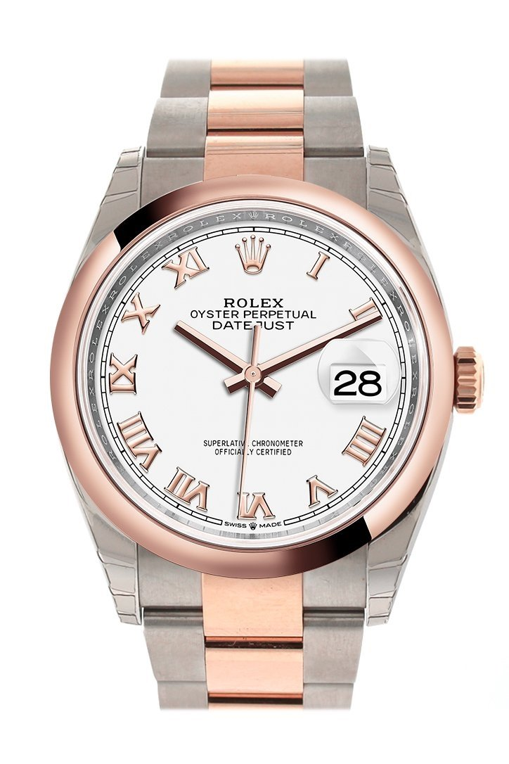 Rolex Datejust 36 White Roman Dial Dome Rose Gold Two Tone Watch 126201