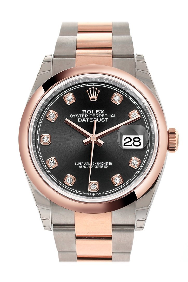 Rolex Datejust 36 Black Set With Diamonds Dial Dome Rose Gold Two Tone Watch 126201