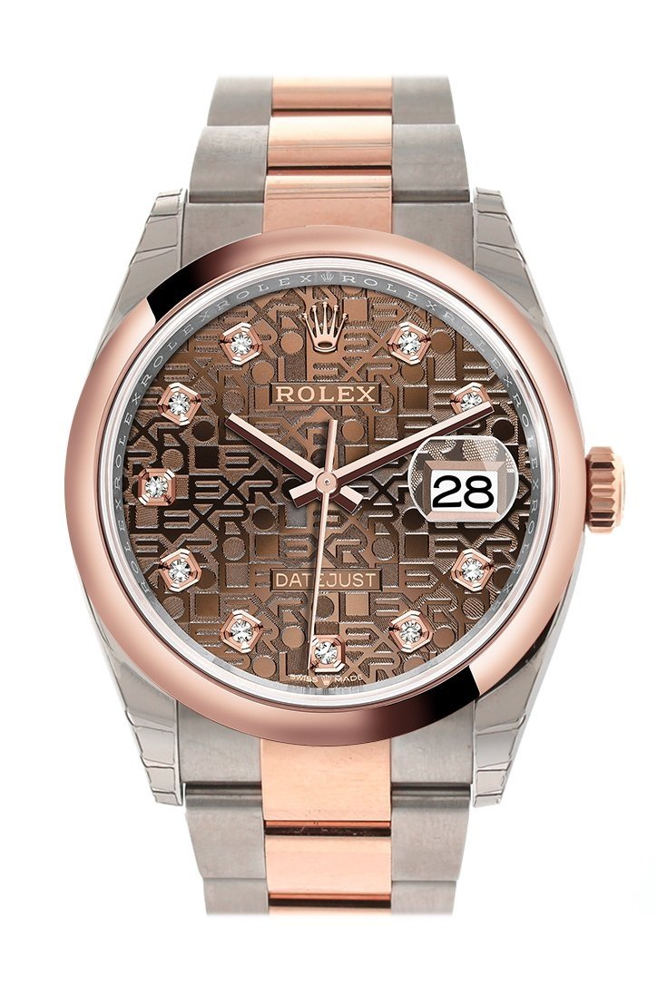 Rolex Datejust 36 Chocolate Jubilee Design Set With Diamonds Dial Dome Rose Gold Two Tone Watch
