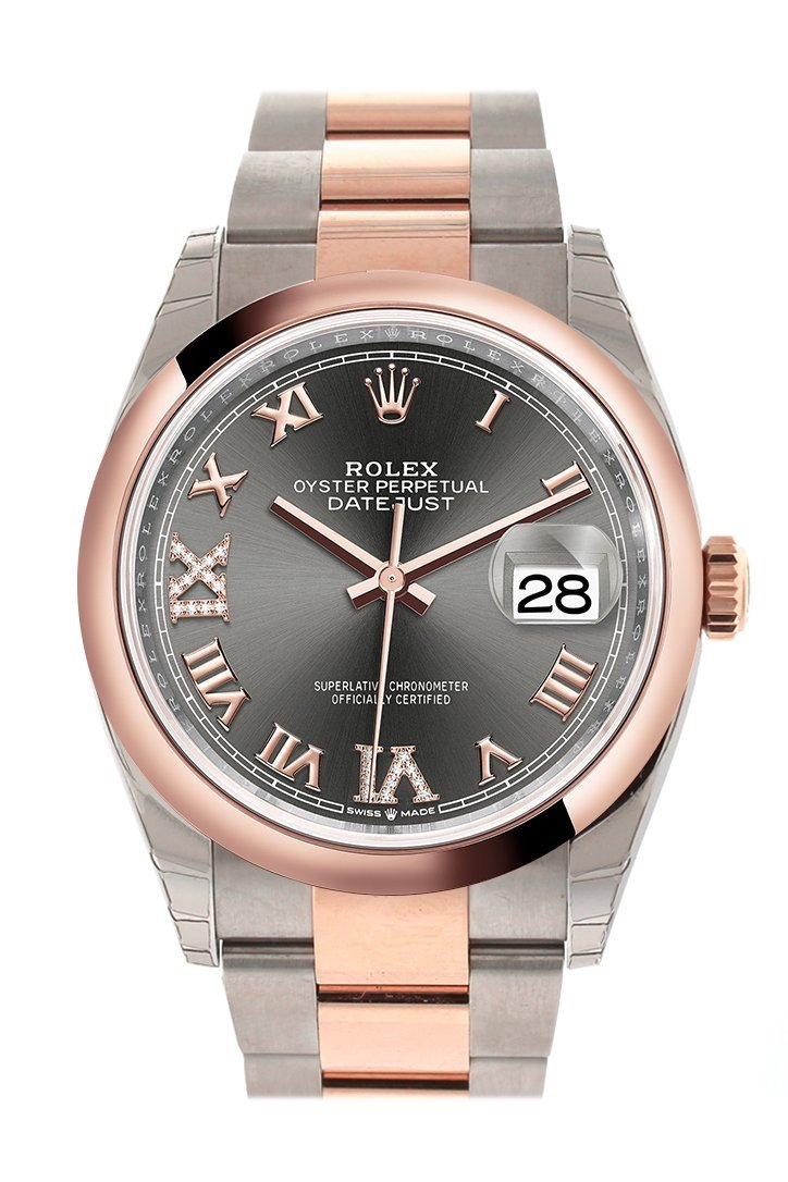Rolex Datejust 36 Dark Rhodium Set With Diamonds Dial Dome Rose Gold Two Tone Watch 126201