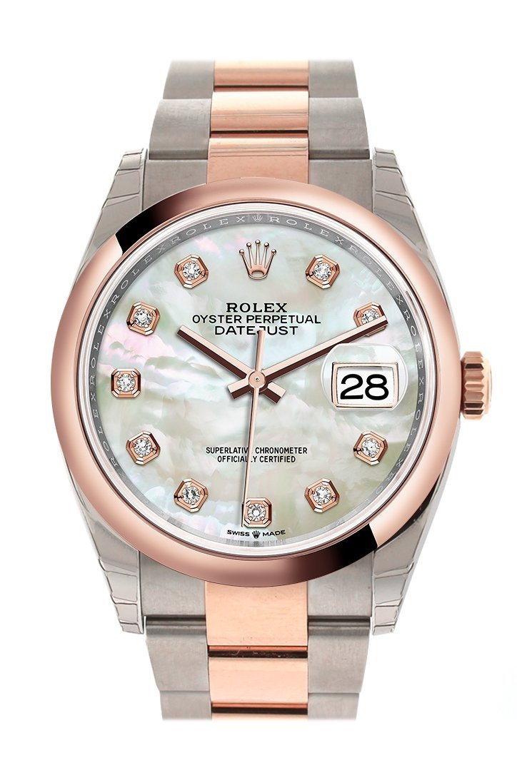 Rolex Datejust 36 White Mother-Of-Pearl Set With Diamonds Dial Dome Rose Gold Two Tone Watch 126201
