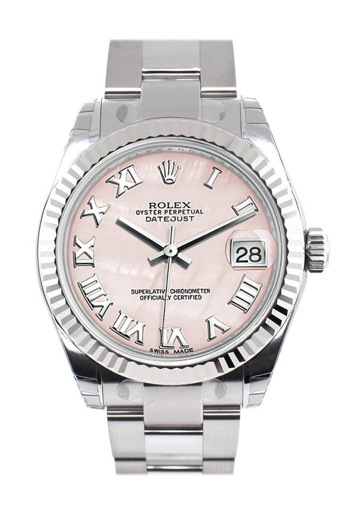 Rolex Datejust 31 Pink Mother Of Pearl Roman Dial White Gold Fluted Bezel Ladies Watch 178274 / None