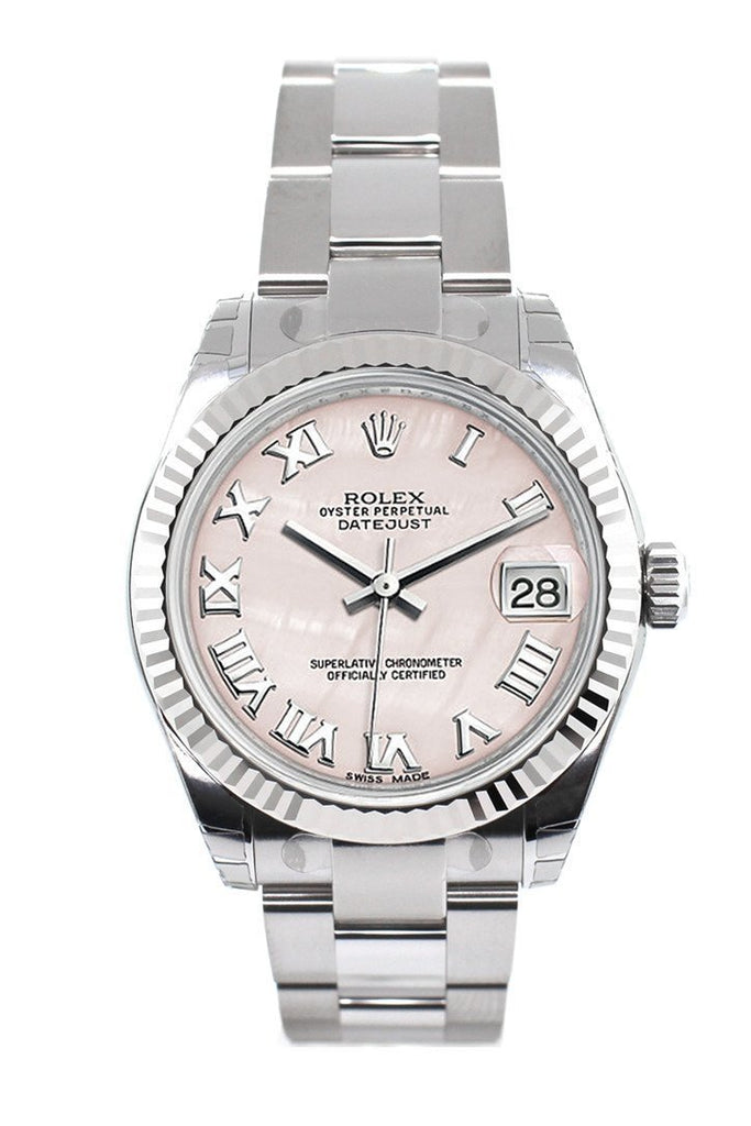 Rolex Datejust 31 Pink Mother Of Pearl Roman Dial White Gold Fluted Bezel Ladies Watch 178274
