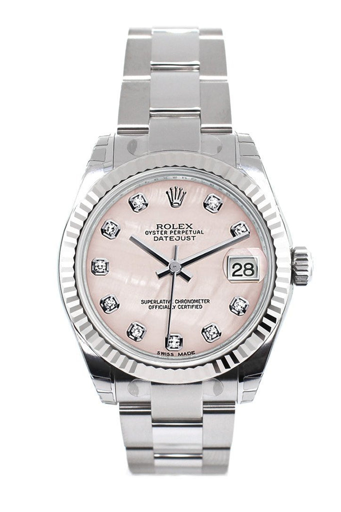 Rolex Datejust 31 Pink Mother of Pearl Set Diamonds Dial White Gold Fluted Bezel Ladies Watch 178274