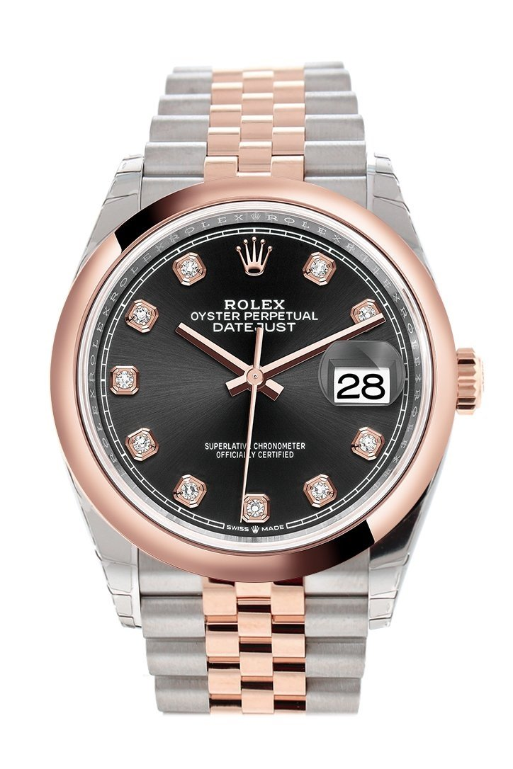 Rolex Datejust 36 Black Set With Diamonds Dial Dome Rose Gold Two Tone Jubilee Watch 126201