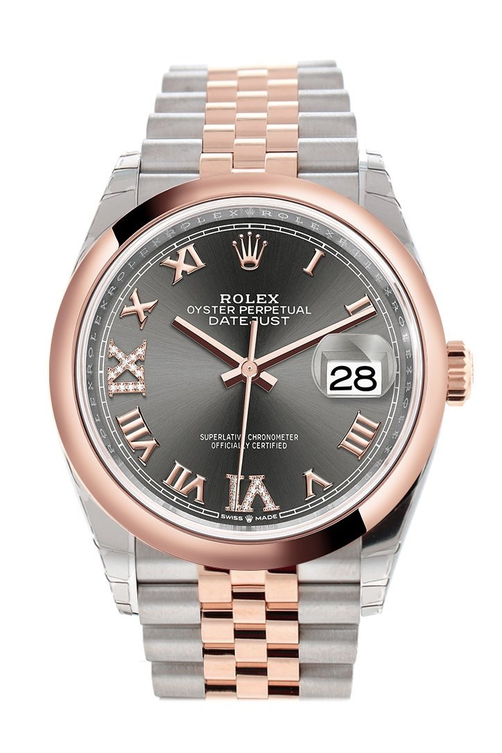 Rolex Datejust 36 Dark Rhodium Set With Diamonds Dial Dome Rose Gold Two Tone Jubilee Watch 126201