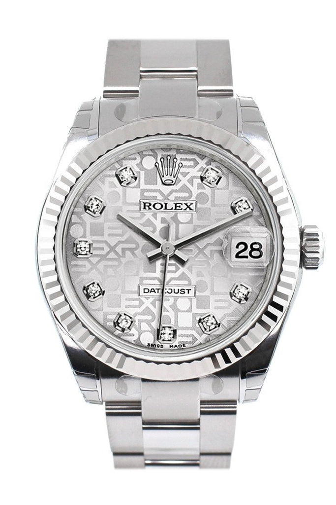 Rolex Datejust 31 Silver Jubilee Set Diamonds Dial White Gold Fluted Bezel Ladies Watch 178274 /