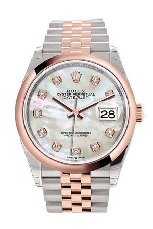 Rolex Datejust 36 White Mother-Of-Pearl Set With Diamonds Dial Dome Rose Gold Two Tone Jubileewatch