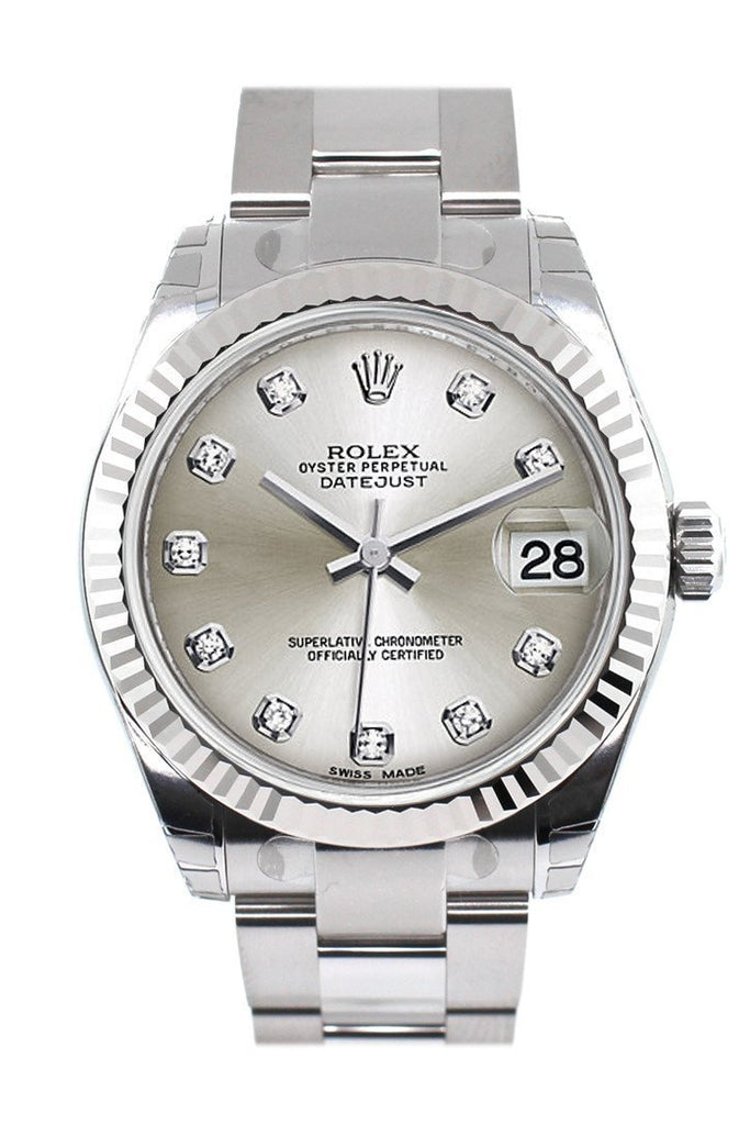 Rolex Datejust 31 Silver Set Diamonds Dial White Gold Fluted Bezel Ladies Watch 178274 / None