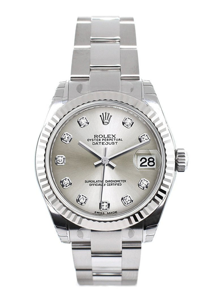 Rolex Datejust 31 Silver Set Diamonds Dial White Gold Fluted Bezel Ladies Watch 178274