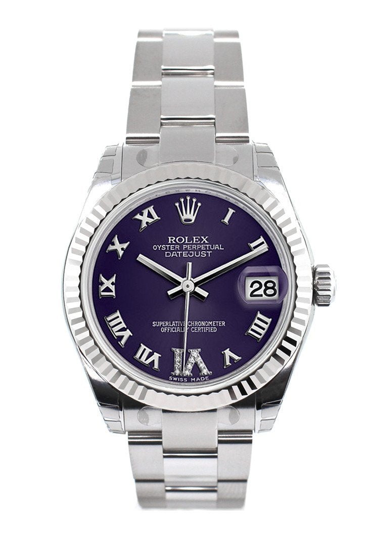 Rolex Datejust 31 Purple Roman Large Vi Set With Diamonds Dial White Gold Fluted Bezel Ladies Watch