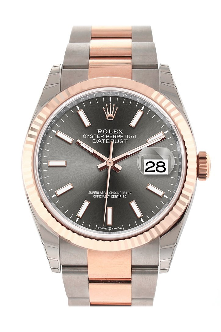 Rolex Datejust 36 Dark Rhodium Dial Fluted Rose Gold Two Tone Watch 126231