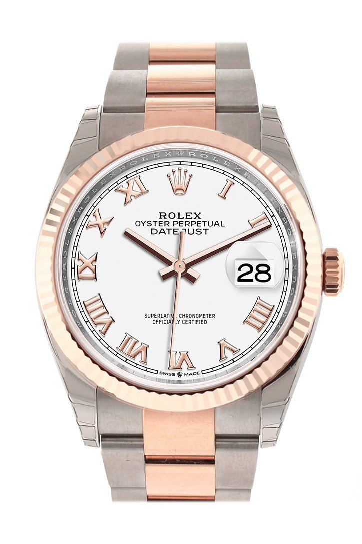 Rolex Datejust 36 White Roman Dial Fluted Rose Gold Two Tone Watch 126231