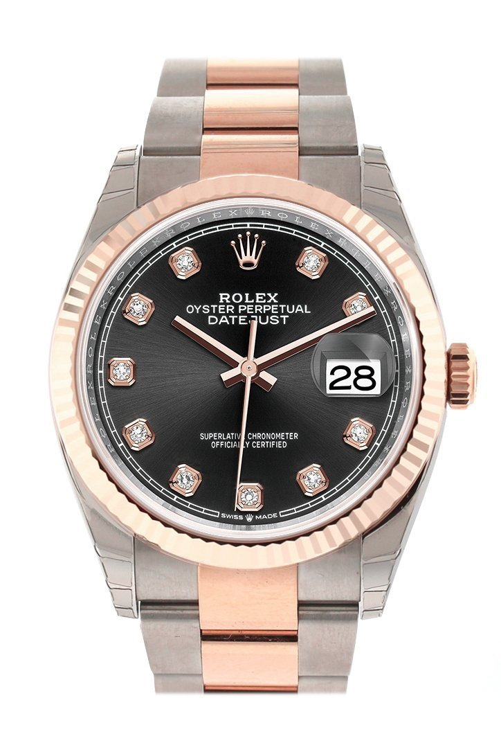 Rolex Datejust 36 Black Set With Diamonds Dial Fluted Rose Gold Two Tone Watch 126231