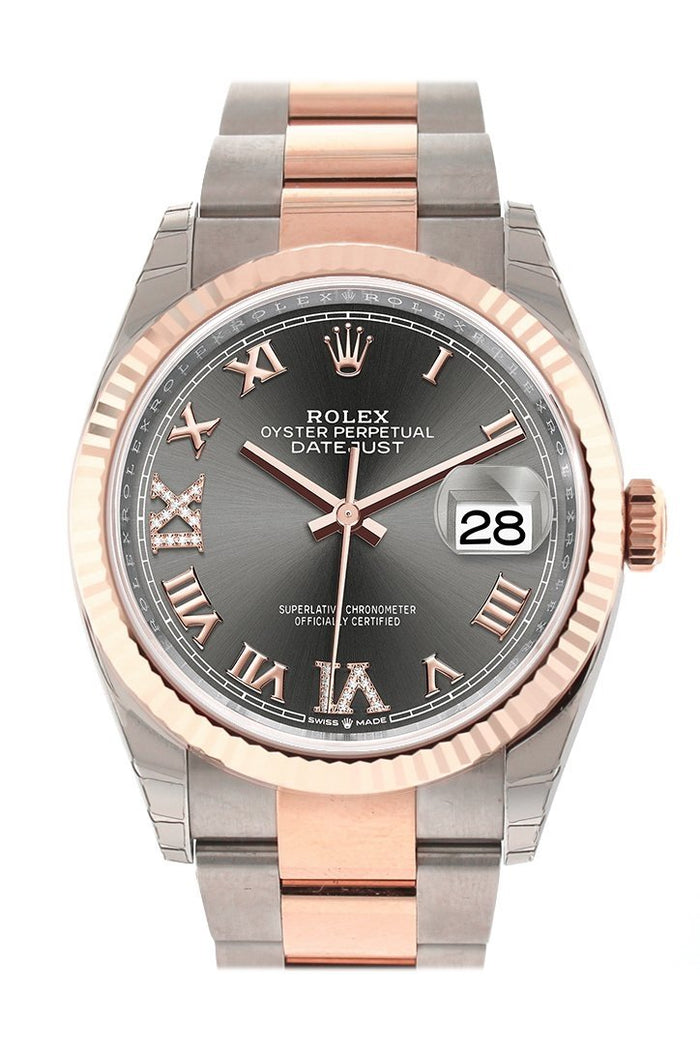 Rolex Datejust 36 Dark Rhodium set with Diamonds Dial Fluted Rose Gold Two Tone Watch 126231